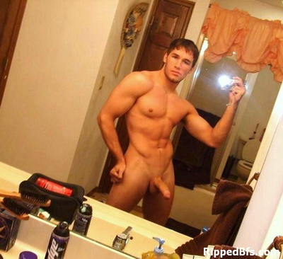 Topless hunk dude flex up his front and back muscles